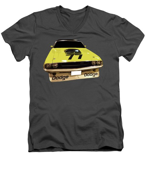 77 Yellow Dodge Men's V-Neck T-Shirt