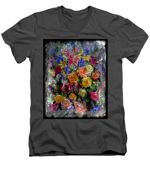 Men's V-Neck T-Shirt featuring the painting 7a Abstract Floral Painting Digital Expressionism by Ricardos Creations