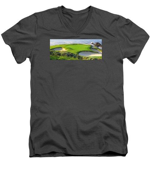 7th Hole At Pebble Beach Hol Men's V-Neck T-Shirt