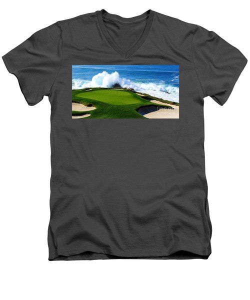 7th Hole - Pebble Beach  Men's V-Neck T-Shirt