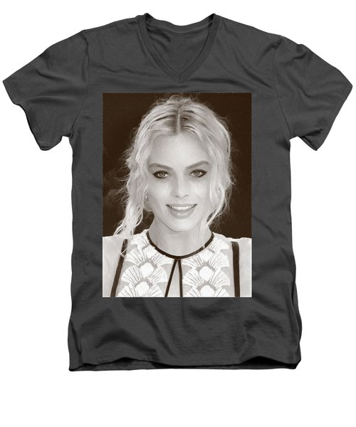 Actress Margot Robbie Men's V-Neck T-Shirt by Best Actors