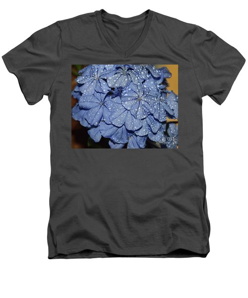 Blue Plumbago Men's V-Neck T-Shirt by Elvira Ladocki