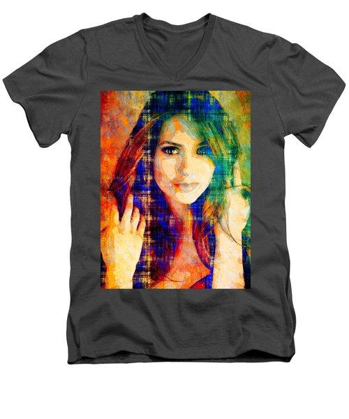 Nina Dobrev Men's V-Neck T-Shirt