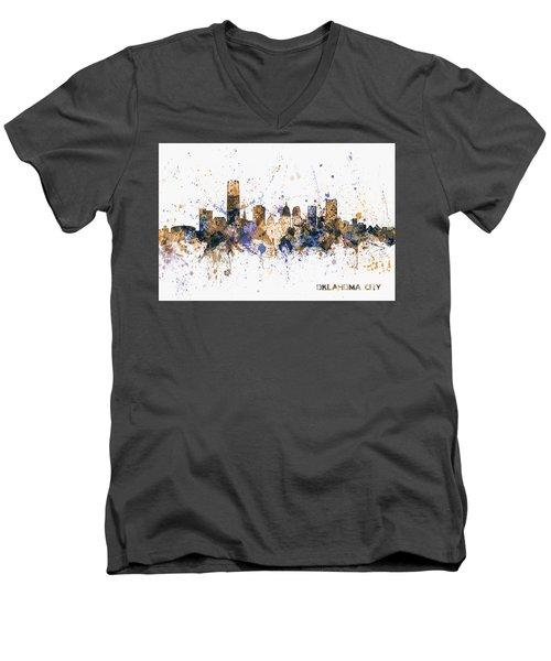 Men's V-Neck T-Shirt featuring the digital art Oklahoma City Skyline by Michael Tompsett