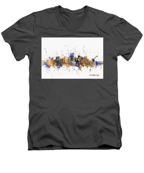 Men's V-Neck T-Shirt featuring the digital art Richmond Virginia Skyline by Michael Tompsett