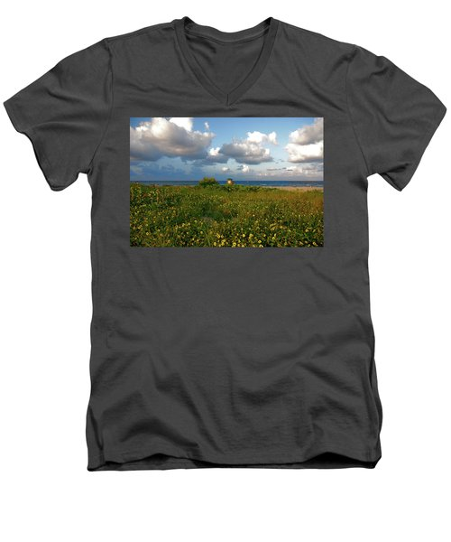 Men's V-Neck T-Shirt featuring the photograph 8- Sunflowers In Paradise by Joseph Keane