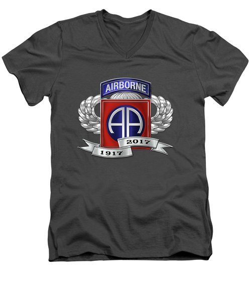 Men's V-Neck T-Shirt featuring the digital art 82nd Airborne Division 100th Anniversary Insignia Over Blue Velvet by Serge Averbukh