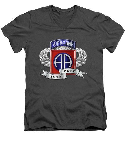 82nd Airborne Division 100th Anniversary Insignia Over Blue Velvet Men's V-Neck T-Shirt