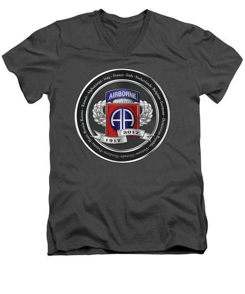 Men's V-Neck T-Shirt featuring the digital art 82nd Airborne Division 100th Anniversary Medallion Over Red Velvet by Serge Averbukh