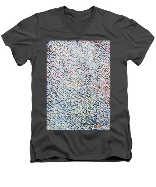Men's V-Neck T-Shirt featuring the painting 84-offspring While I Was On The Path To Perfection 84 by Parijoy Swami Tapasyananda
