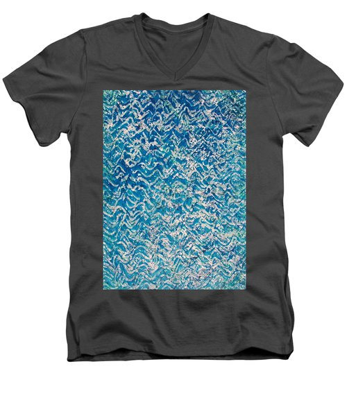 Men's V-Neck T-Shirt featuring the painting 85-offspring While I Was On The Path To Perfection 85 by Parijoy Swami Tapasyananda