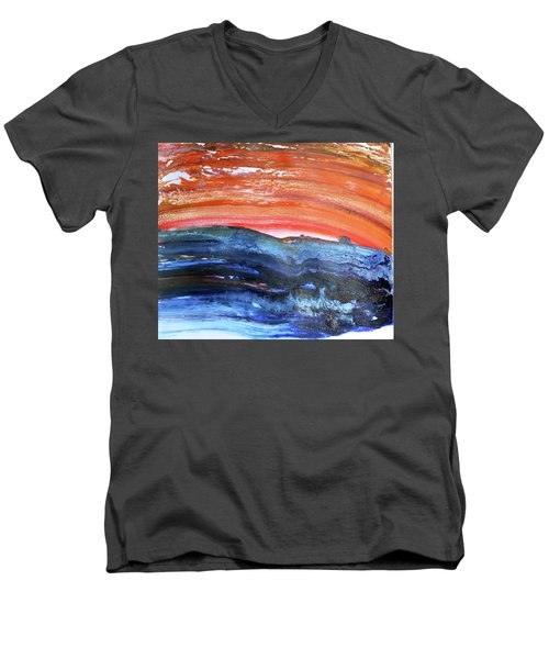 Men's V-Neck T-Shirt featuring the painting 85-offspring While I Was On The Path To Perfection 85 - World's Fastest Landscape Painting by Parijoy Swami Tapasyananda