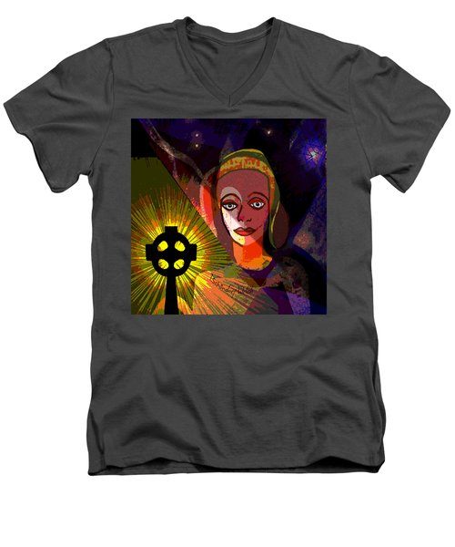 Men's V-Neck T-Shirt featuring the digital art 863 - A Celtic Cross by Irmgard Schoendorf Welch