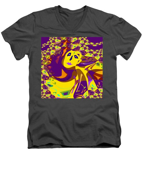 874 - Mellow Yellow Clown Lady - 2017 Men's V-Neck T-Shirt