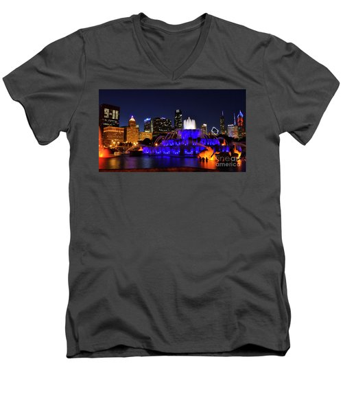 Men's V-Neck T-Shirt featuring the photograph 911 Tribute At Buckingham Fountain, Chicago by Zawhaus Photography