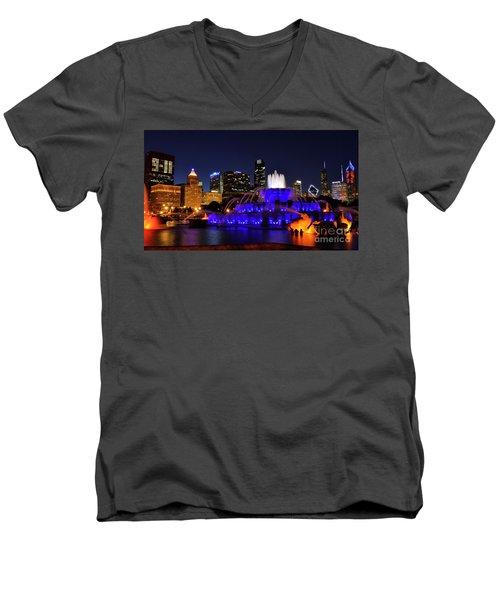 911 Tribute At Buckingham Fountain, Chicago Men's V-Neck T-Shirt