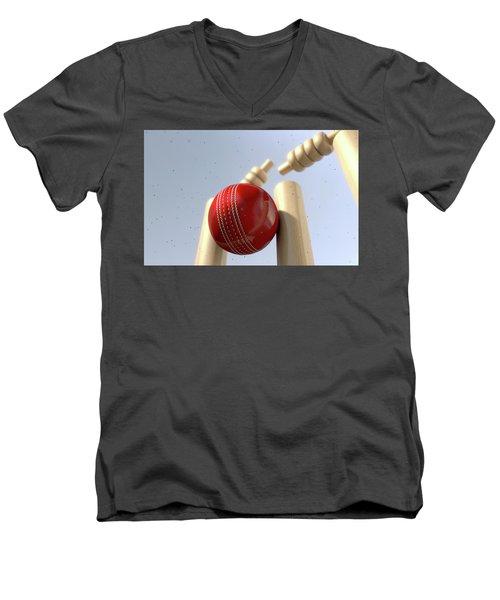 Cricket Ball Hitting Wickets Men's V-Neck T-Shirt