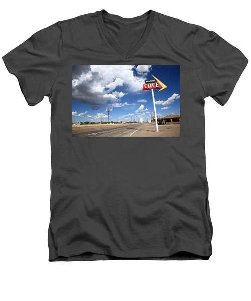 Route 66 Cafe Men's V-Neck T-Shirt by Frank Romeo