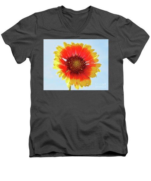 Men's V-Neck T-Shirt featuring the photograph Yellow Flower by Elvira Ladocki