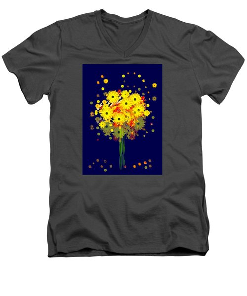952 - Summer Flowers  Yellow ... Men's V-Neck T-Shirt by Irmgard Schoendorf Welch