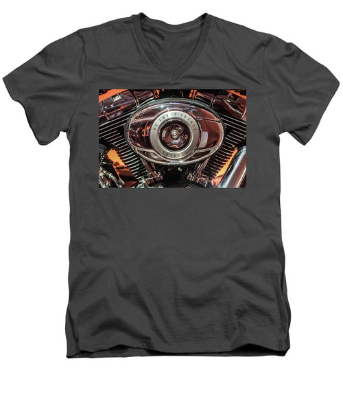 Men's V-Neck T-Shirt featuring the photograph 96 Cubic Inches Softail by Randy Scherkenbach