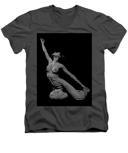 9970-dja Zebra Striped Yoga Reaching Sensual Lines Black White Photograph Abstract By Chris Mahert Men's V-Neck T-Shirt