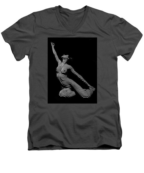 9970-dja Zebra Striped Yoga Reaching Sensual Lines Black White Photograph Abstract By Chris Mahert Men's V-Neck T-Shirt