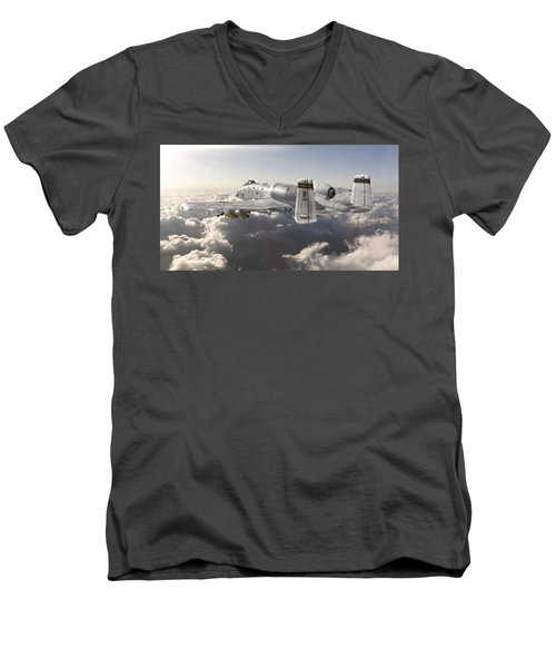 A-10 Thunderbolt II Men's V-Neck T-Shirt by David Collins