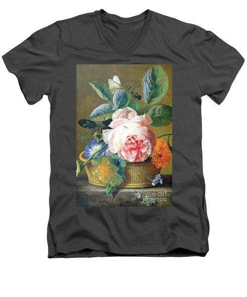 A Basket With Flowers Men's V-Neck T-Shirt