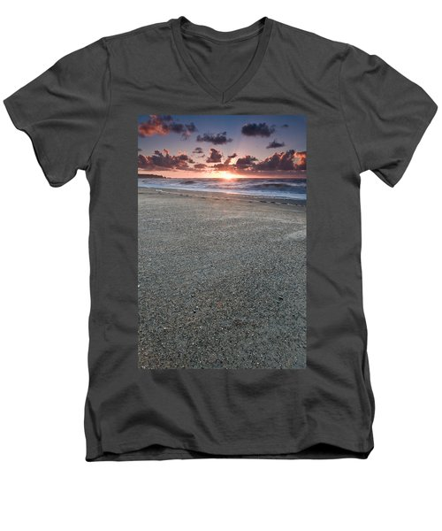 A Beach During Sunset With Glowing Sky Men's V-Neck T-Shirt