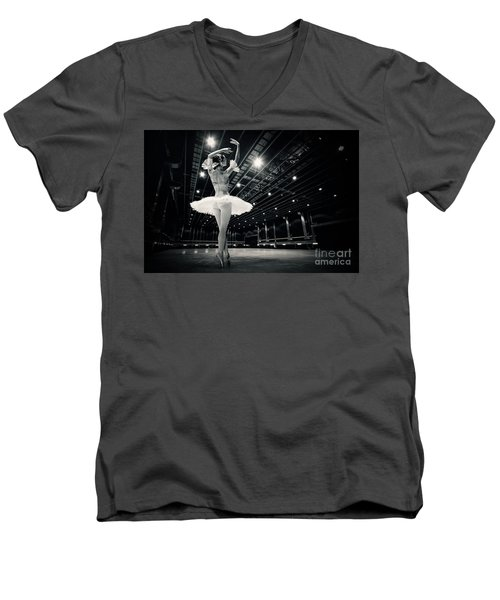 Men's V-Neck T-Shirt featuring the photograph A Beautiful Ballerina Dancing In Studio by Dimitar Hristov