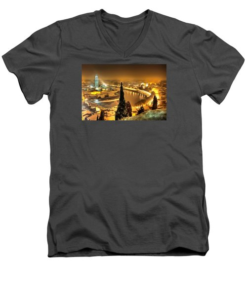 A Beautiful Blonde In Thick Paint Men's V-Neck T-Shirt by Catherine Lott
