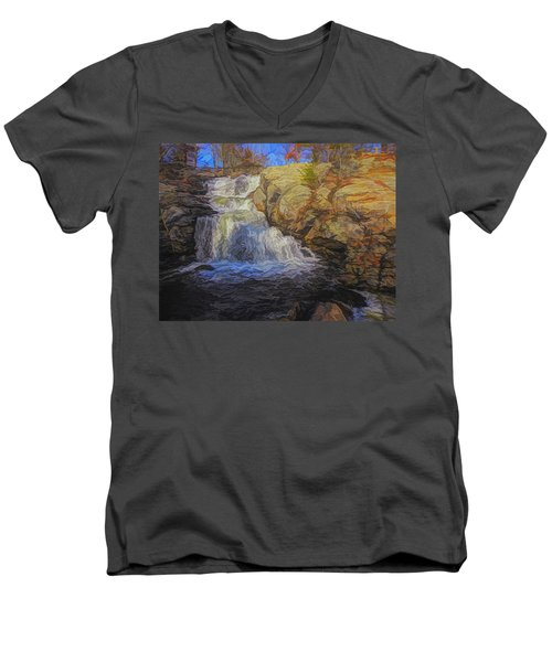 A Beautiful Connecticut Waterfall. Men's V-Neck T-Shirt