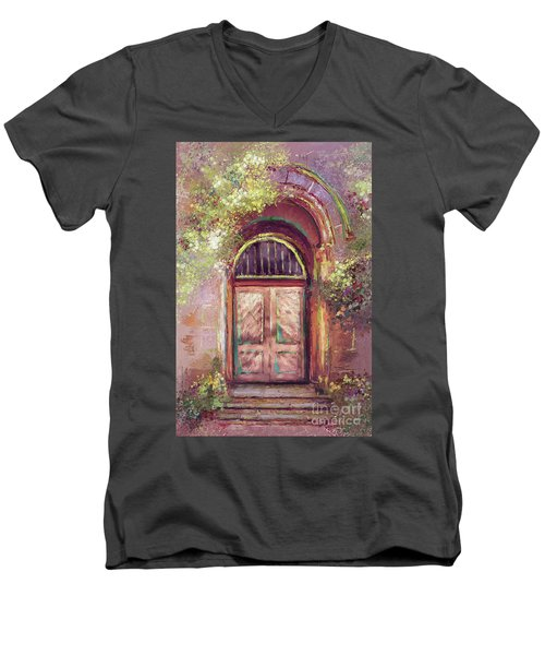 Men's V-Neck T-Shirt featuring the digital art A Beautiful Mystery by Lois Bryan