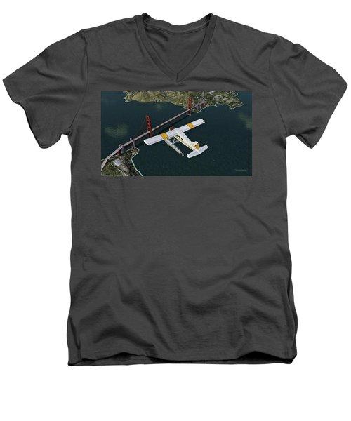 A Beaver Over The Bridge Men's V-Neck T-Shirt