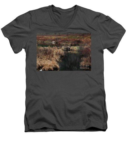 A Beaver's Work Men's V-Neck T-Shirt by Skip Willits
