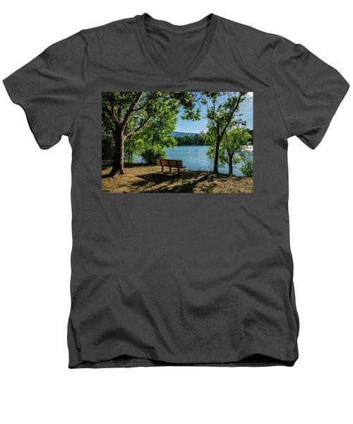 A Bench Overlooking Vasona Lake Men's V-Neck T-Shirt