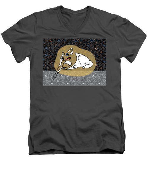 A Big White Dog In A Vegas Casino Men's V-Neck T-Shirt