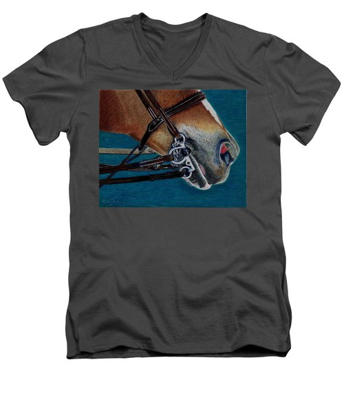 A Bit Of Control - Horse Bridle Painting Men's V-Neck T-Shirt by Patricia Barmatz