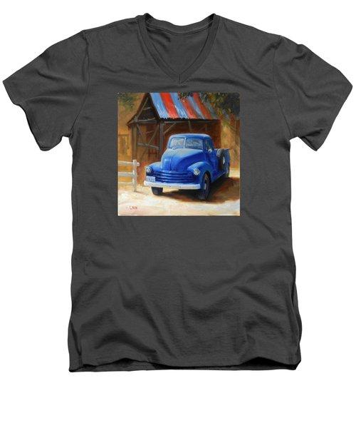 A Blue Chevrolet Men's V-Neck T-Shirt