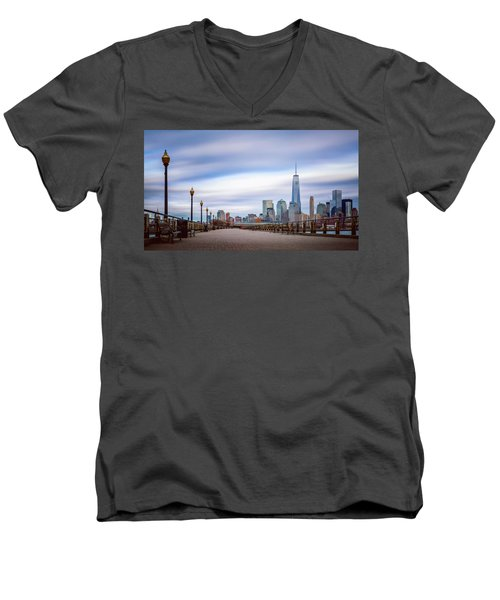 A Boardwalk In The City Men's V-Neck T-Shirt by Eduard Moldoveanu