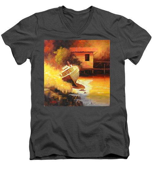 A Boat In A Sunny Day Men's V-Neck T-Shirt
