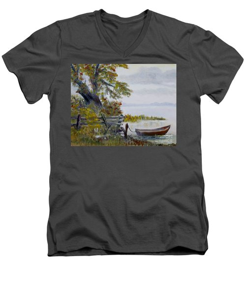 Men's V-Neck T-Shirt featuring the painting A Boat Waiting by Marilyn  McNish