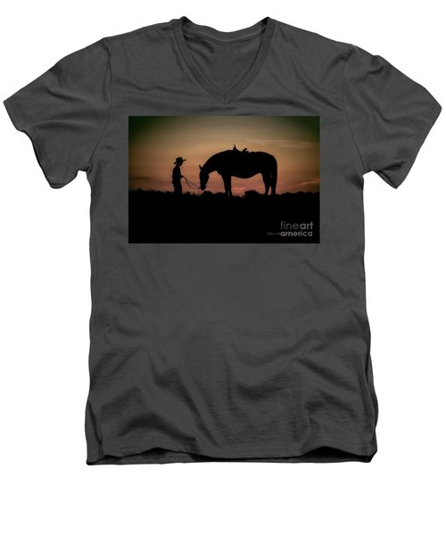 Men's V-Neck T-Shirt featuring the photograph A Boy And His Horse by Linda Blair