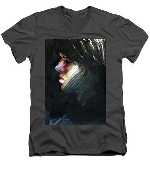 Men's V-Neck T-Shirt featuring the painting A Boy Named Rainbow by Rene Capone