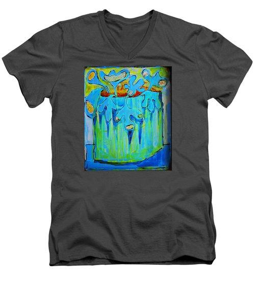 A Bucket Of Flowers Men's V-Neck T-Shirt