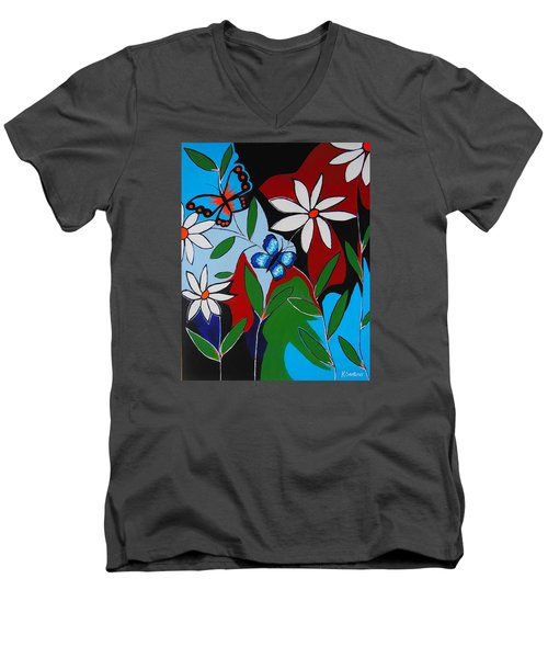 Men's V-Neck T-Shirt featuring the painting A Butterflies Paradise by Kathleen Sartoris