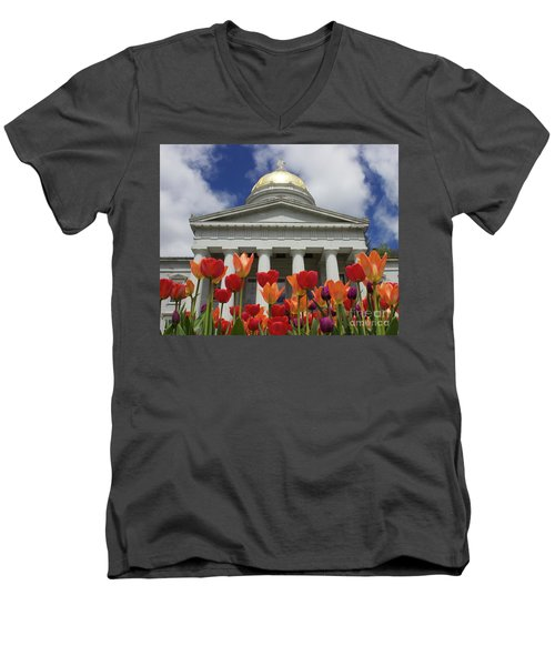 A Capitol Day Men's V-Neck T-Shirt by Alice Mainville