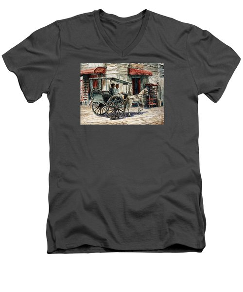 A Carriage On Crisologo Street Men's V-Neck T-Shirt by Joey Agbayani