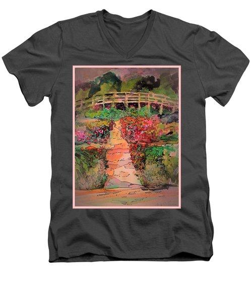A Charming Path Men's V-Neck T-Shirt by Mindy Newman